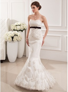 Mermaid Sweetheart Sweep Train Satin Tulle Wedding Dress With Lace Sashes Beadwork