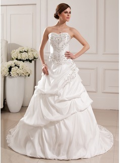 Ball-Gown Sweetheart Court Train Taffeta Wedding Dress With Embroidery Ruffle Beading Sequins