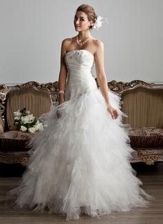 Corte A/Princesa Estrapless Hasta el suelo Satén Tul Vestido de novia con Volantes Bordado Los appliques Encaje