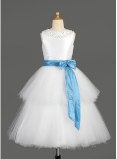 A-Line/Princess Tea-length Flower Girl Dress - Taffeta/Tulle Sleeveless Scoop Neck With Sash/Beading/Bow(s)