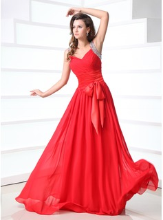 A-Line/Princess V-neck Floor-Length Chiffon Charmeuse Prom Dress With Ruffle Beading Bow(s)