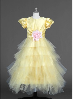 A-Line/Princess Scoop Neck Ankle-Length Tulle Charmeuse Flower Girl Dress With Flower(s) Cascading Ruffles