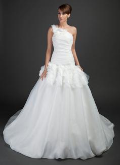 Ball-Gown One-Shoulder Chapel Train Organza Wedding Dress With Ruffle