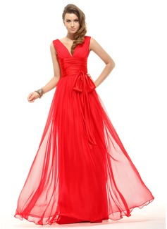 A-Line/Princess V-neck Floor-Length Chiffon Holiday Dress With Ruffle Bow(s)