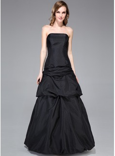 A-Line/Princess Strapless Floor-Length Taffeta Bridesmaid Dress With Ruffle Bow(s)