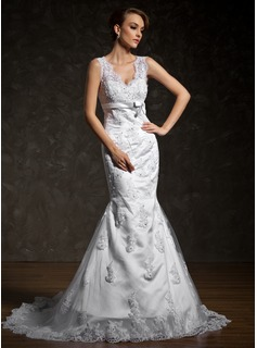 Trumpet/Mermaid V-neck Court Train Tulle Wedding Dress With Beading Appliques Lace Bow(s)