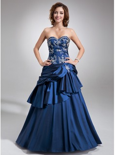 Ball-Gown Sweetheart Floor-Length Taffeta Quinceanera Dress With Embroidered Beading Cascading Ruffles