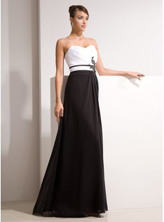 A-Line/Princess Sweetheart Floor-Length Chiffon Charmeuse Evening Dress With Ruffle Beading Appliques
