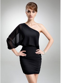 Jakke One-Shoulder Kort/Mini Chiffon Cocktailkjole med Flæsekanter