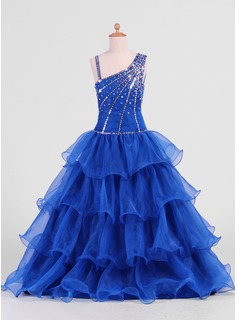 A-Line/Princess Floor-Length Organza Flower Girl Dress With Beading Sequins