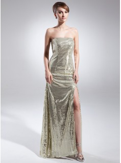 Sheath/Column Strapless Floor-Length Sequined Prom Dress With Split Front