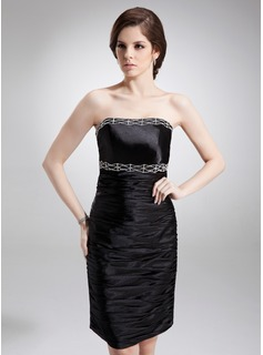 Sheath/Column Strapless Knee-Length Charmeuse Cocktail Dress With Ruffle Beading