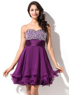 Empire Sweetheart Short/Mini Chiffon Charmeuse Homecoming Dress With Beading