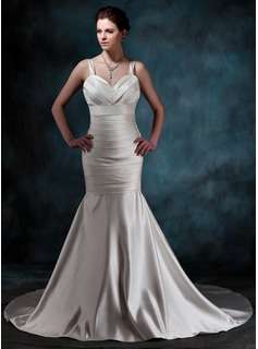 Mermaid Sweetheart Chapel Train Satin Wedding Dress With Ruffle