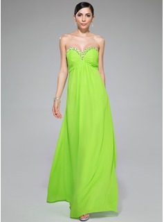 Empire Sweetheart Floor-Length Chiffon Evening Dress With Ruffle Beading Sequins
