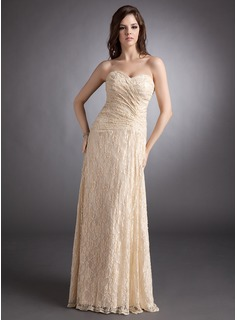 Sheath Sweetheart Floor-Length Lace Evening Dress With Ruffle