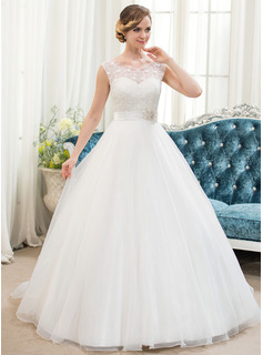 Ball-Gown Scoop Neck Sweep Train Organza Satin Lace Wedding Dress With Beading Sequins