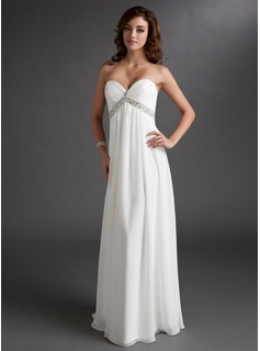 Empire Sweetheart Floor-Length Chiffon Wedding Dress With Ruffle Beading