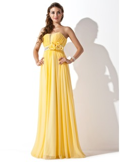 A-Line/Princess Sweetheart Floor-Length Chiffon Prom Dress With Ruffle Beading Flower(s)