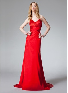 A-Line/Princess Halter Sweep Train Charmeuse Prom Dress With Ruffle Beading
