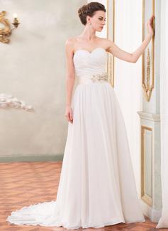 A-Linie/Princess-Linie Herzausschnitt Hof-schleppe Chiffon Brautkleid mit Rüschen Schleifenbänder/Stoffgürtel Perlen verziert Pailletten