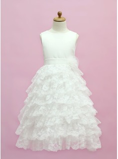 A-Line/Princess Floor-length Flower Girl Dress - Satin/Lace Sleeveless Scoop Neck With Ruffles/Bow(s)
