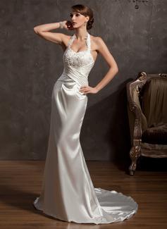 Trumpet/Mermaid Halter Court Train Charmeuse Wedding Dress With Ruffle Lace Beading