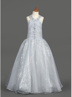 A-Line/Princess Organza/Sequined With Ruffle/Beading