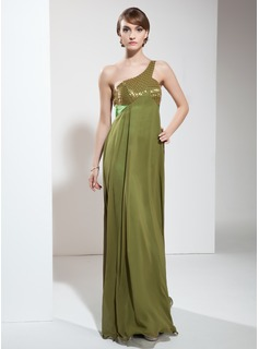 Empire One-Shoulder Floor-Length Chiffon Charmeuse Holiday Dress With Ruffle Beading