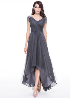 A-لاين أميرة V عنق غير متناظر Tulle فستان سهرة مع كشكش مطرز بالخرز ترتر