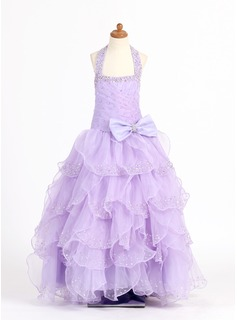 A-Line/Princess Organza/Charmeuse With Beading/Sequins/Bow(s)/Cascading Ruffles