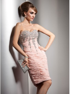 Sheath Sweetheart Knee-Length Chiffon Cocktail Dress With Ruffle Beading Sequins