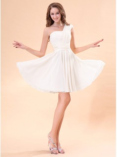 A-Line/Princess One-Shoulder Short/Mini Chiffon Charmeuse Homecoming Dress With Ruffle