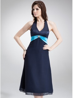 A-Line/Princess Halter Tea-Length Chiffon Satin Bridesmaid Dress With Sash Beading