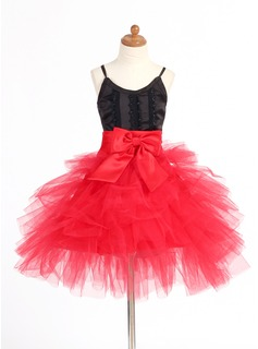 A-Line/Princess V-neck Short/Mini Satin Tulle Flower Girl Dress With Lace Bow(s) Cascading Ruffles