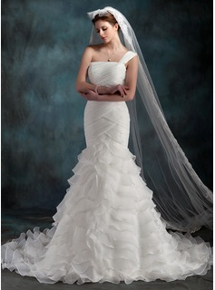 Trumpet/Mermaid One-Shoulder Chapel Train Organza Wedding Dress With Cascading Ruffles