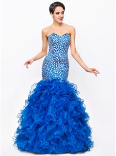 Trumpet/Mermaid Sweetheart Floor-Length Organza Satin Prom Dress With Beading Sequins
