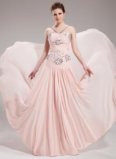 A-لاين أميرة حبيب ذيل كورت Chiffon فستان سهرة مع كشكش مطرز بالخرز ترتر