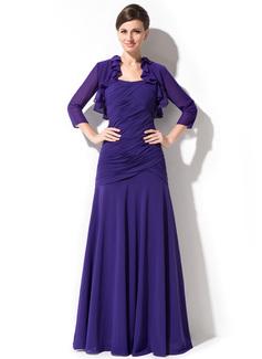 A-لاين أميرة حبيب الطول الأرضي Chiffon فستان سهرة مع كشكش