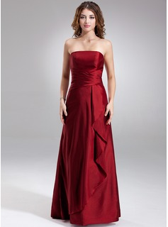 Sheath Strapless Floor-Length Taffeta Bridesmaid Dress With Ruffle