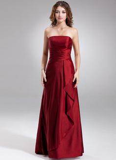 Sheath/Column Strapless Floor-Length Taffeta Bridesmaid Dress With Cascading Ruffles