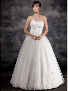Ball-Gown Strapless Floor-Length Organza Charmeuse Wedding Dress With Ruffle Lace Beading