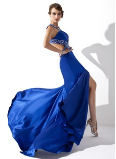 Corte A/Princesa Escote en V Barrer/Cepillo tren Charmeuse Vestido de baile de promoción con Bordado Lentejuelas Apertura frontal