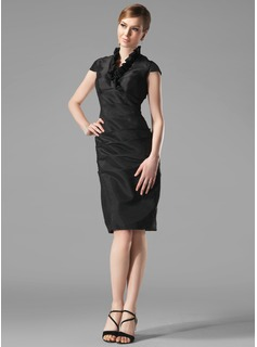 Sheath V-neck Knee-Length Taffeta Holiday Dress With Ruffle