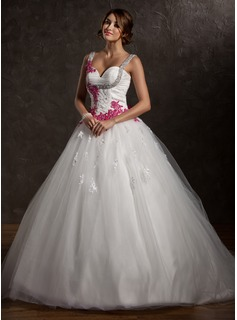 Ball-Gown Sweetheart Chapel Train Satin Tulle Wedding Dress With Ruffle Lace Appliques