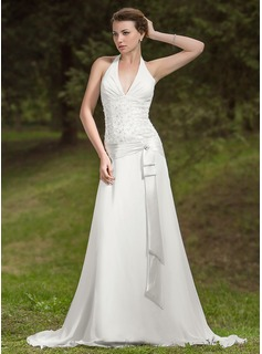 A-Line/Princess Halter Court Train Chiffon Wedding Dress With Ruffle Lace