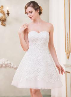 Corte A/Princesa Escote corazón Hasta la rodilla Tul Encaje Vestido de novia