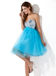 Empire Sweetheart Knee-Length Tulle Sequined Homecoming Dress With Beading