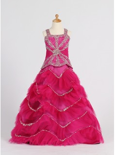 A-Line/Princess Satin/Tulle With Ruffle/Beading/Sequins