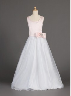 A-Line/Princess Scoop Neck Floor-Length Organza Satin Flower Girl Dress With Beading Flower(s) Bow(s)